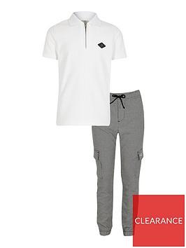river-island-boys-2-piece-short-sleeve-polo-shirtnbspand-joggers-setnbsp--white