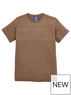champion-crew-neck-faded-logo-t-shirt-khaki