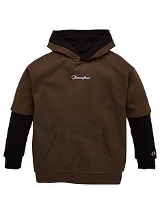 champion-hooded-faded-logo-sweatshirt-khaki