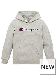 champion-hooded-logo-sweatshirt-grey