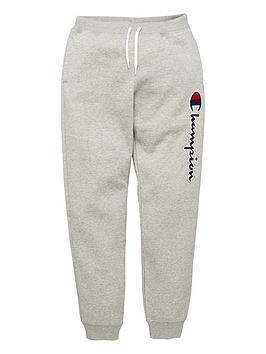 champion-rib-cuff-logo-pants-grey