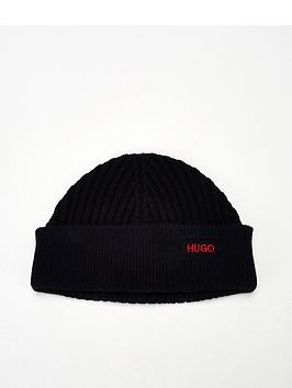 hugo-xianno-knitted-beanie-hat-black