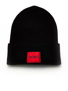 hugo-xaff-red-patch-logo-knitted-beanie-hat-black