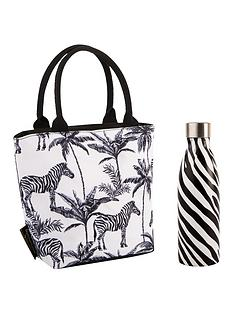 summerhouse-by-navigate-madagascar-insulated-lunch-tote-zebra-repeat-plus-stainless-steel-drinks-bottle