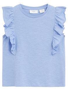 mango-girls-frill-detail-sleevelss-tshirt-blue