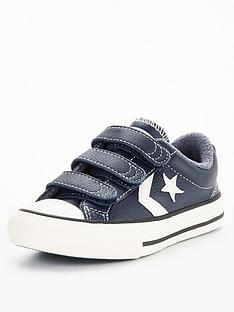 converse-star-player-3v-ox-leather-amp-heathered-knit-childrens-navy