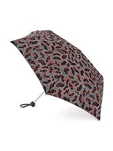 lulu-guinness-dotty-lips-print-minilite-umbrella-multi