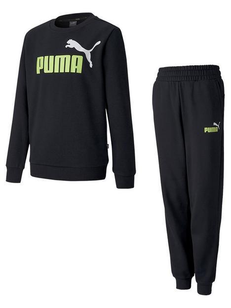 puma-essentials-2-crew-sweatshirt-amp-logo-pant-set-blacklime
