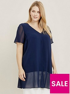evans-short-sleeve-split-front-top-navy