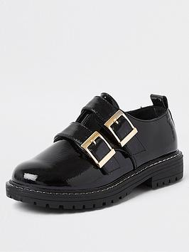 river-island-girls-patent-double-buckle-shoe--nbspblack