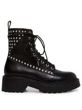 Steve Madden Tornado-S Ankle Boot - Black Leather