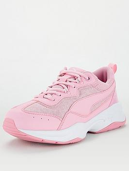puma-cilia-mesh-glitter-junior-trainers-pinkwhite