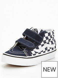 vans-sk8-mid-checkerboard-childrens-trainer-bluewhite
