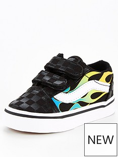 vans-toddler-old-skool-glow-flames-trainer-black