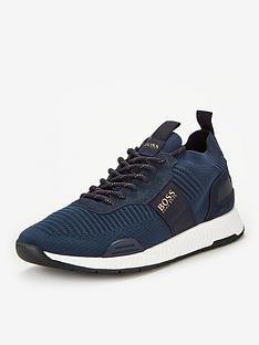 boss-titanium-knit-runner-trainers-navygold