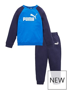 puma-minicats-essentials-raglan-jogger-set-navyblue