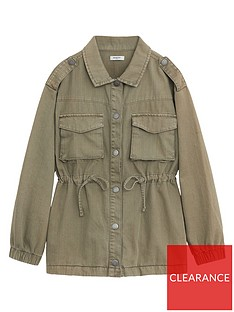 mango-girls-drawstring-waist-shacket-khaki