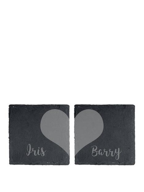 the-personalised-memento-company-personalised-slate-heart-coaster-set