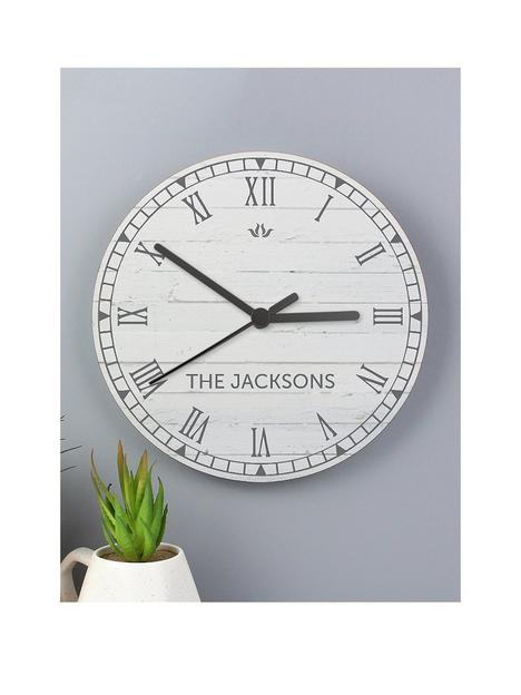 the-personalised-memento-company-personalised-grey-rustic-style-wooden-clock
