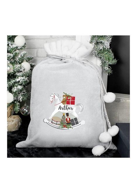 personalised-grey-rocking-horse-christmas-sack