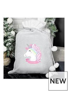 personalised-unicorn-grey-christmas-sack