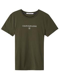 calvin-klein-jeans-inst-round-ck-t-shirt-khaki