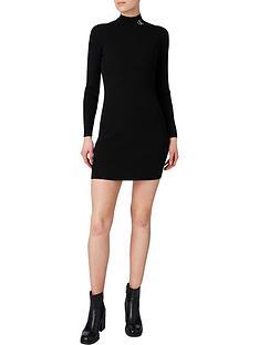 calvin-klein-jeans-roll-neck-sweater-dress-black