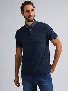 burton-menswear-london-short-sleeve-jacquard-polo-shirtnbsp-nbsp-navy