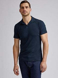 burton-menswear-london-rib-revere-collar-polo-shirt-navy