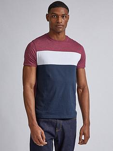 burton-menswear-london-cut-and-sew-panel-t-shirt-ndash-burgundywhitenavy