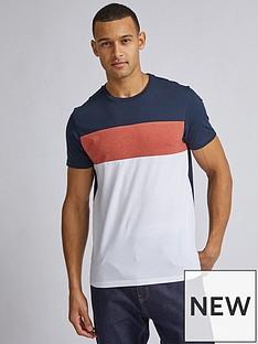 burton-menswear-london-cut-and-sew-panel-t-shirt-ndash-navyorangewhite