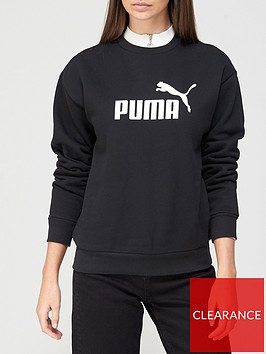 puma-essentials-logo-crew-sweat-fleece-black