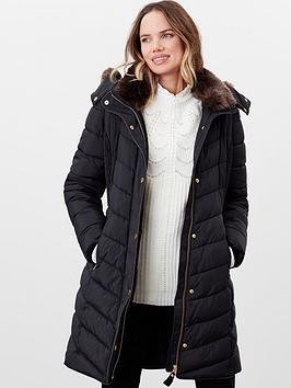 joules cherington chevron longline padded coat - black