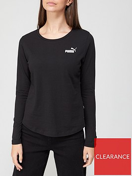puma-essential-long-sleeve-tee-black
