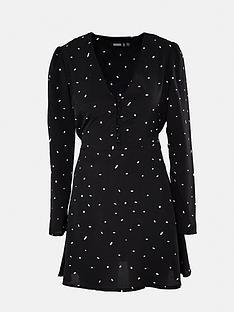 missguided-missguided-half-button-dalmatian-tea-dress-black
