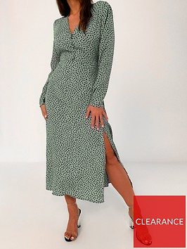 missguided-missguided-half-button-dalmatiannbspmidi-tea-dress-green