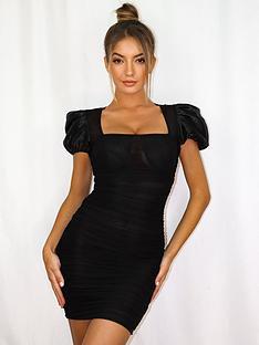 missguided-missguided-mesh-short-sleevenbsppuff-sleeve-milkmaid-mini-dress-black