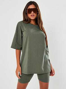 missguided-missguided-co-ord-t-shirt-amp-cycling-short-set-green