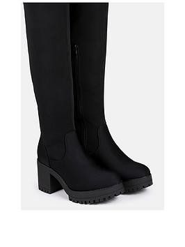 missguided-lycra-chunky-over-the-knee-boots-black