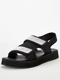 missguided-missguided-diamante-grandad-sandals-black