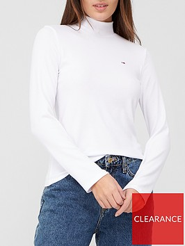 tommy-jeans-high-neck-long-sleeve-jersey-top--nbspwhite