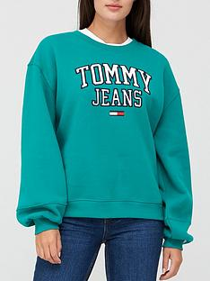 tommy-jeans-collegiate-logo-crew-neck-sweat-top-green
