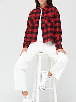 tommy-jeans-gingham-check-shirt-burgundy