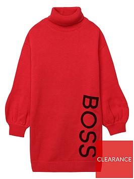 boss-girls-logo-knitted-jumper-dress-red