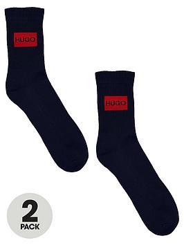 hugo-rib-label-logo-2-pack-sports-socks-navy