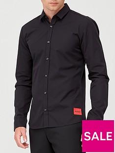 hugo-ero-3-red-patch-logo-shirt-black