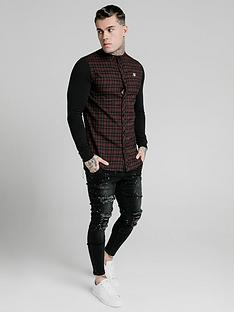 sik-silk-long-sleeve-flannel-check-granddad-shirt-burgundy