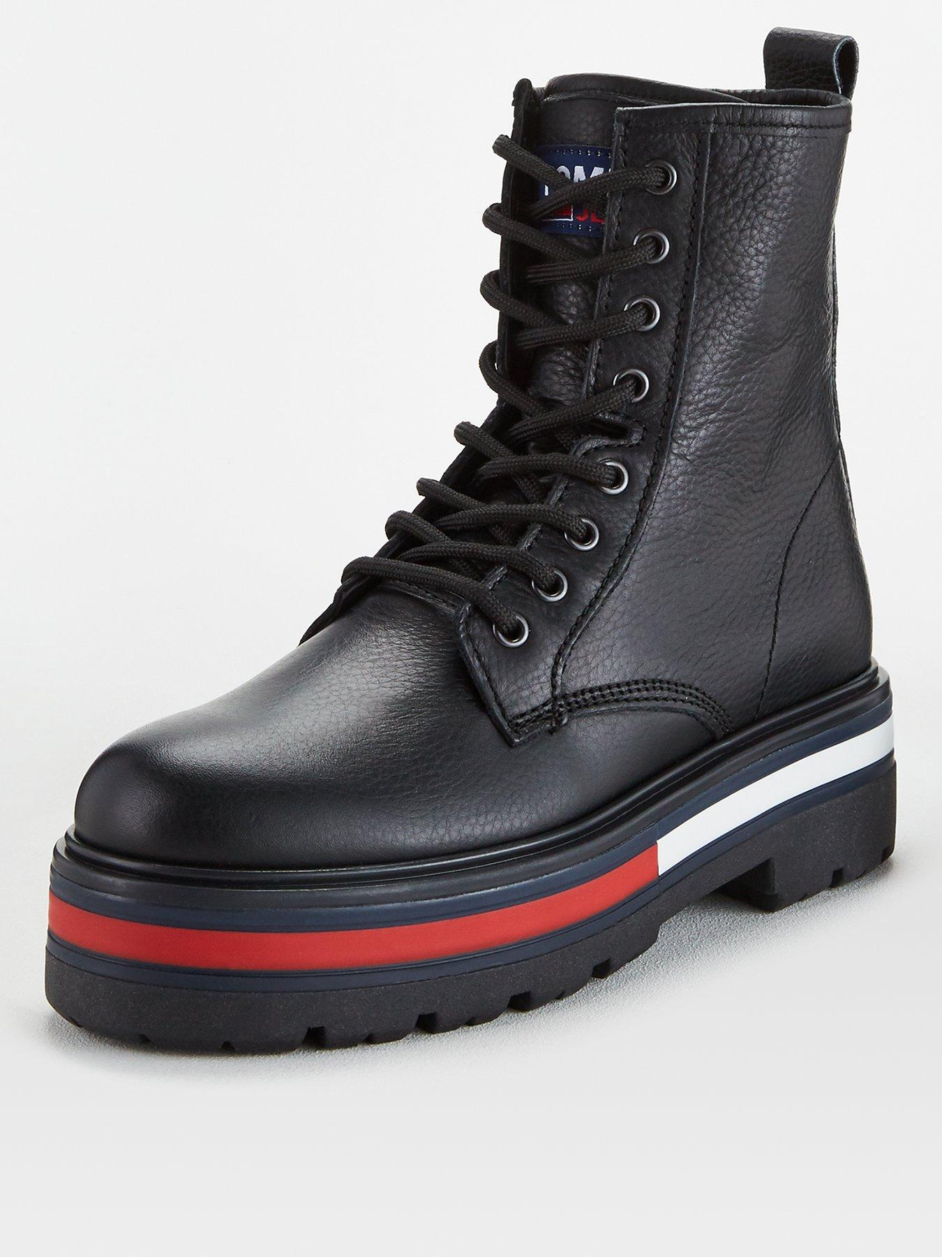 Tommy Hilfiger Rugged Classic Lace Up Flat Womens Black Casual Boots 4 UK