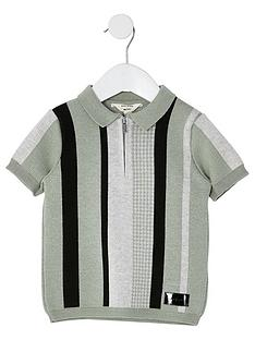 river-island-mini-boys-stripe-zip-polo-green