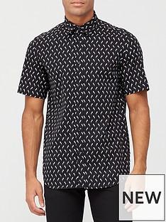 diesel-all-over-print-short-sleeve-shirt-black